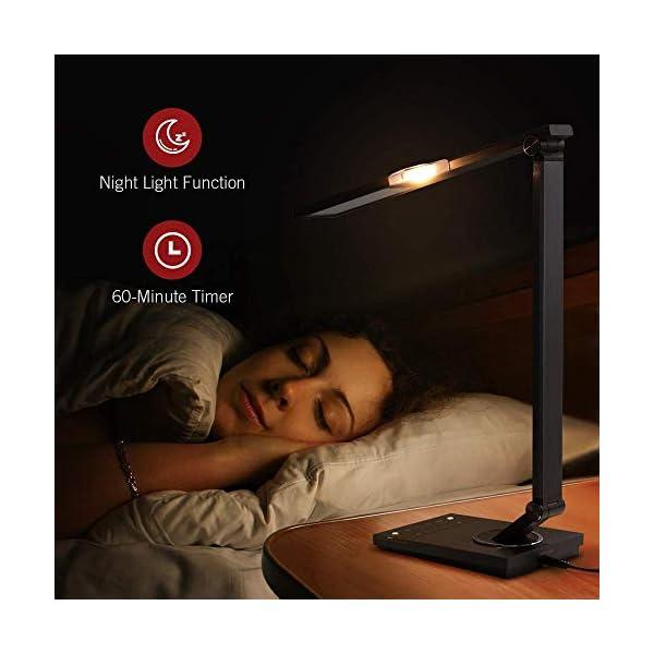 TaoTronics TT-DL16 Stylish Metal LED Desk Lamp, Office 5V/2A USB Port, 5 Color Modes, 6 Brightness Levels, Touch Control, Timer, Night Light, Official Member of Philips Enabled Licensing Program 6