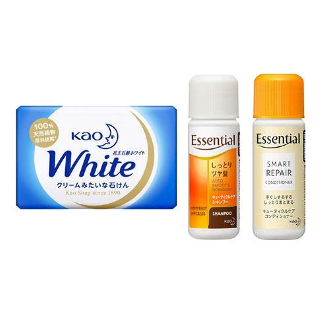 概してデクリメントケニア花王(KAO) 石鹸ホワイト(Kao Soap White) 15g + エッセンシャルシャンプー 16ml + コンディショナー 16ml セット