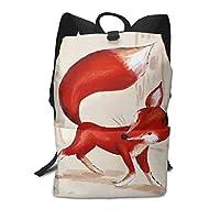 男女通用 マルチポケット デイパック 可愛い狐 動物 調節可能ストラップとパッド入り付き 旅行