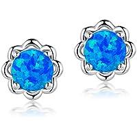 6mm Round Opal Flower Stud Earrings Birthstone Platinum Plated Hypoallergenic for Women Girls (Blue/White)