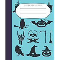 Composition Notebook: 7.5X9.25 Inch 109 Pages Halloween Themed Pictures Half Blank Half Wide Ruled School Exercise Book With Picture Space for Boys and Men - Grades K2 Primary Elementary Secondary School Kids - Draw And Write Your Own Stories