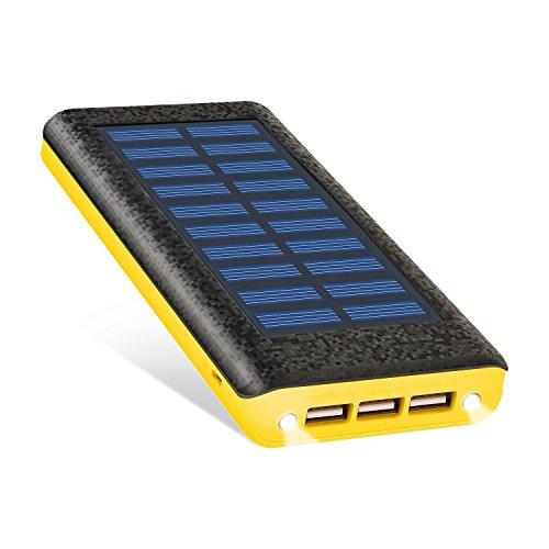 RuiPu ソーラーチャージャー モバイルバッテリー 24000mah大容量 電源充電可 QuickCharge急速充電対応 3USB出力ポート(2A+2A+1A) 二個LEDランプ搭載 太陽エネルギーパネル電池充電器 災害と外出に対応(Yellow)