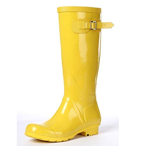 (Wansi)レディースロングレインブーツシューズレインブーツ雨靴長靴長ぐつ梅雨対策滑り止めレインシューズレイングッズビジネスアウトドアおしゃれ雨靴イエロー23cm
