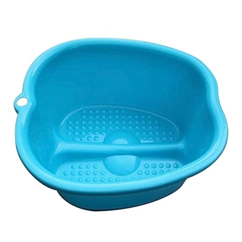 いつか粒確保するROSENICE プラスチックフットバス大きなフットタブ家庭用家庭用厚底フットバス(青)
