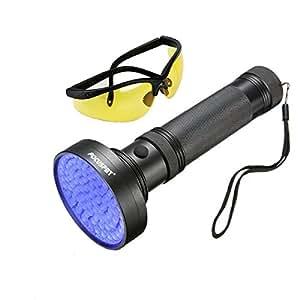 Focuspet ブラックライト UV 紫外線ライト 100LED UVカットメガネ付き 懐中電灯 殺菌 ライト 目には見えない汚れに対策 ペット 犬 猫 尿 跡 チェック 菌 カビ 掃除 照射 偽造 防止