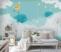 Mbwlkj 漫画のクジラの女の子の寝室の壁画壁紙紙子供部屋3D写真壁紙壁の装飾カスタム-350cmx245cm