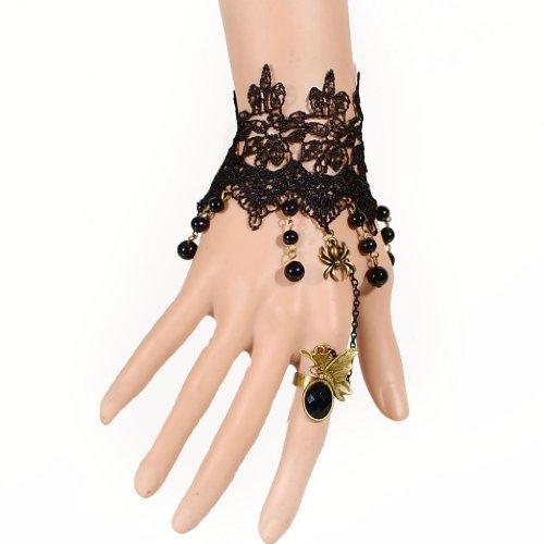 [해외]SODIAL (R) 여성 빈티지 스타일 고딕 로리타 블랙 레이스 팔찌와 반지/SODIAL (R) female vintage style gothic lolita black lace beaded bracelet and ring