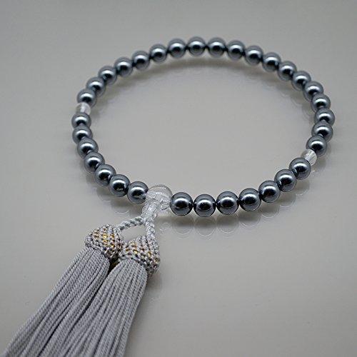 花珠貝パール 数珠 女性用 8mm黒貝パール 数珠袋付き 全ての宗派で使える 女性用念珠