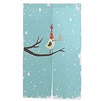 SUKAU のれん ロング 暖簾 鳥柄 雪 クリスマス かわいい 洗濯可 突っ張り棒付き 幅86cm×丈143cm