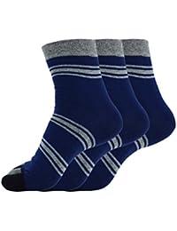 AIKOSHA メンズ ソックス 靴下 5本指 3足セット ミドル丈 クルー丈 カジュアル ボーダー 秋冬 リラクシング スポーツに
