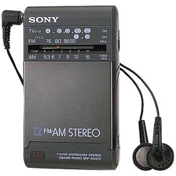 SONY TV(1ch-12ch)/FMステレオ/AMステレオポケッタブルラジオ名刺サイズ SRF-AX51V