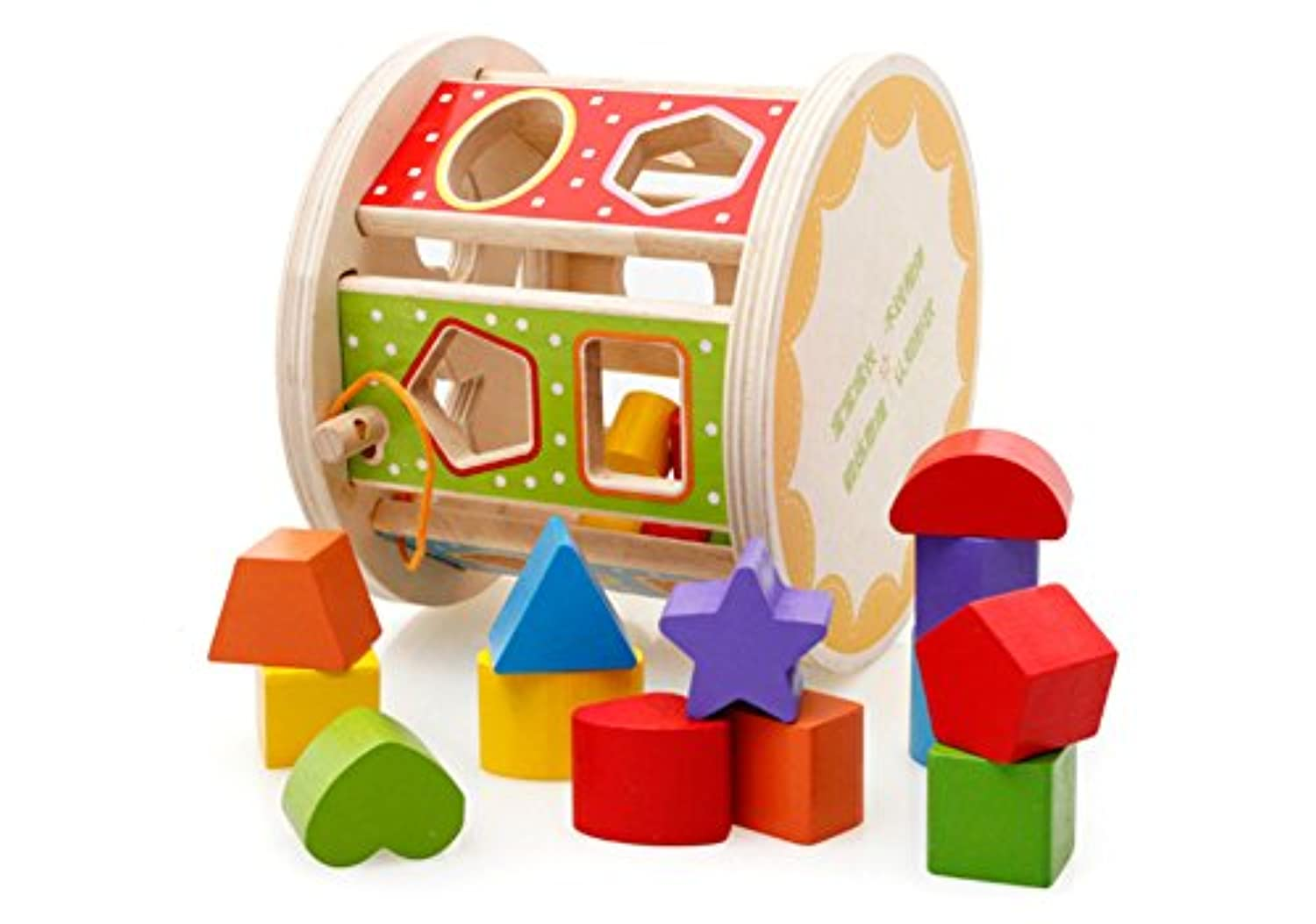 VolksRose Wooden Baby Shape Colour Recognition Intelligence Sorter - Cylinder Shaped Early Education Shape Sorter . and Up Child - Perfect Christmas Gift for Your Kids