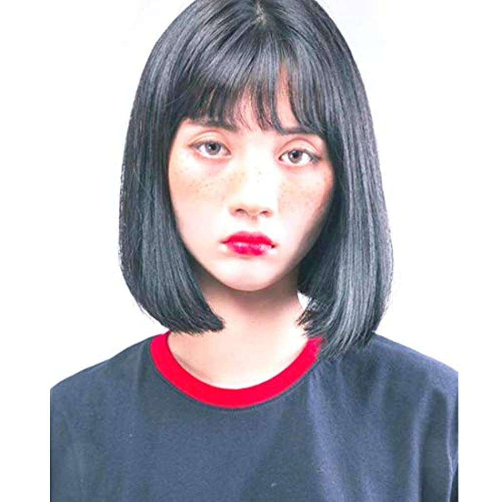 租界五十結果Kerwinner ボブウィッグショートストレート人工毛髪前髪自然に見える女性用耐熱性