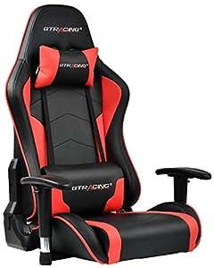GTRACING ゲーミング座椅子 ゲーミングチェア 180度リクライニング ハイバック 可動肘 ヘッドレスト クッション付き 一年無償部品交換保証 (89-RED)