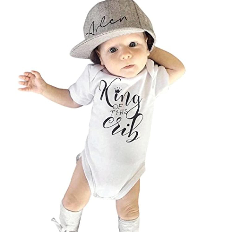 Feiscat キッズドレス ベビー服 夏服 80 ロンパース 着ぐるみ 男の子 赤ちゃん服 幼児 通園 旅行 お出かけ 普段着 満月/出産祝い/プレゼント/運動会/旅行/記念日 グレー ラウンドネック