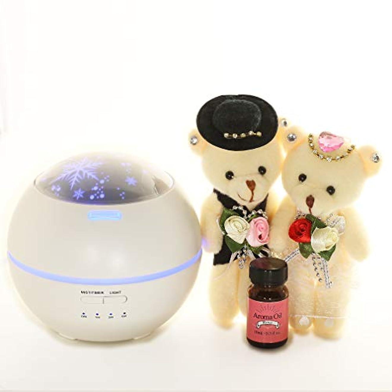 [ファンシー] 誕生日プレゼント 女性 人気 彼女 ホワイトデーお返し アロマディフューザー 超音波式 卓上加湿器 ムードランプ 時間設定 ベットルーム 部屋 会社 投影機能 150ml ホワイト df01
