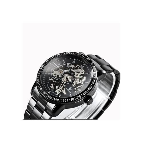IKカラーリング IK colouring Ori-0871 Black Stainless Steel Band Silvery movement Mechanical Analog Wrist Watch for Men 男性 メンズ 腕時計 【並行輸入品】