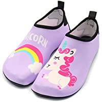 Fortuning's JDS Kids Swim Water Shoes Quick Dry Aqua Socks Non-Slip Barefoot Swim Shoes for Boys Girls Toddler Swimming Outdoor Sports