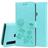 Tianshan サムスンギャラクシーA9(2018)ケース、ホルダー&カードスロット&財布付きサムスンギャラクシーA9(2018)のためのローズエンボス水平フリップPUレザーケース、 (色 : 緑)