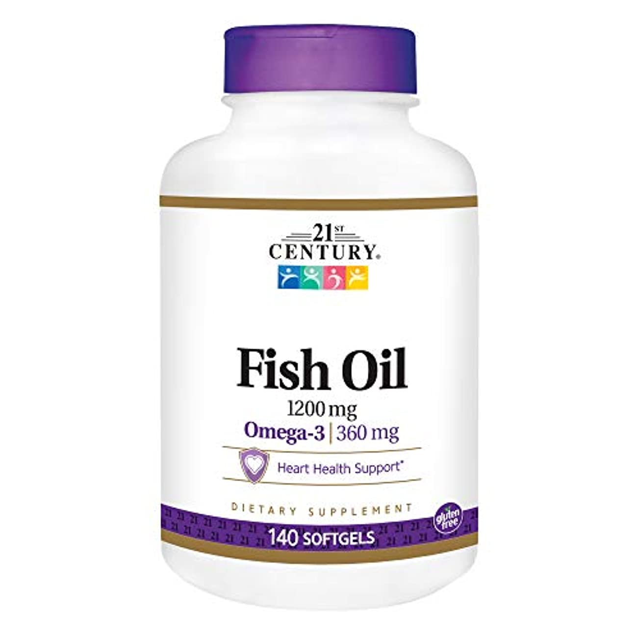 尊敬感覚部門21st Century Health Care, Fish Oil, Omega-3, Maximum Strength, 1200 mg, 140 Softgels