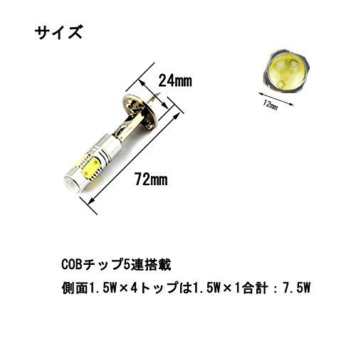 e-auto fun 12V LEDバルブ フォグランプ 高効率7.5W H1タイプ ハイパワーSMD5連 白 6500k アルミヒートシンク搭載 2個セット