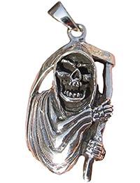 シルバー925死神ペンダントネックレスタイジュエリーアートゴススカルA7 925 Silver Grim Reaper Pendant