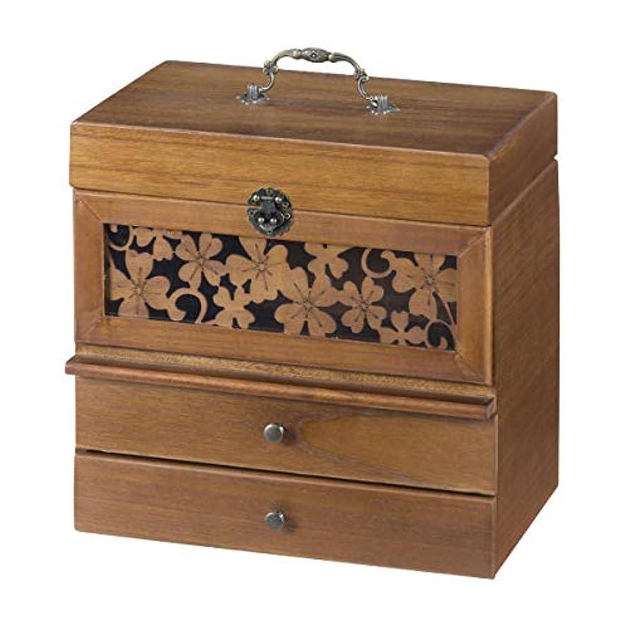 機会膿瘍億コスメボックス メイクボックス メイク 収納 木製 切り絵風コスメボックス 奥行28cm KP-5500