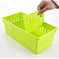 WTL かご?バスケット デスクトップ収納ボックスプラスチック収納ボックス (色 : 緑, サイズ さいず : L l)