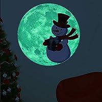 Jinbs 月 夜光テッカー クリスマス デコレーション 剥がせる 直径30cm ウォールステッカー 壁紙シール 蓄光 壁 窓 装飾 部屋飾り