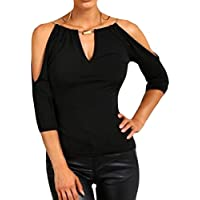 willwinWomen Cut Out Shoulder 3/4 Sleeve Sexy Pure Colour Tees Shirt