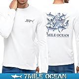 7MILE OCEAN メンズ 長袖 ロング tシャツ ロンT バックプリント ロゴT アメカジ ストリート 人気 ブランド 釣り フィッシング 魚 L WHITE