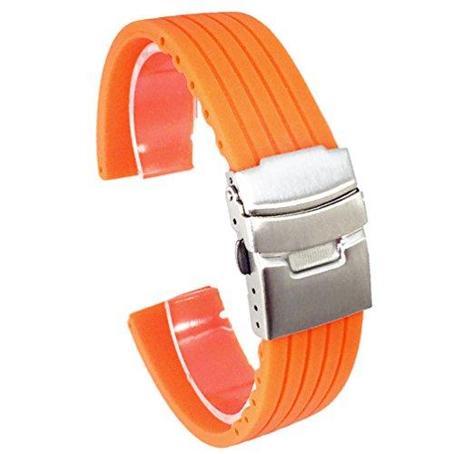 5fcf508c0c (ドノロロジオ)DonOrologio選べる4色 腕時計 シリコン ベルト 20mm 直カン ラバー バンド 防水 ダブルロック バックル 長さ 調節  オレンジ シリコン製の厚手の腕時計 ...