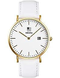 [ルビウスタン]RUBEUSTAN 腕時計 レディース 女性 シンプル (ホワイト&カレンダー)