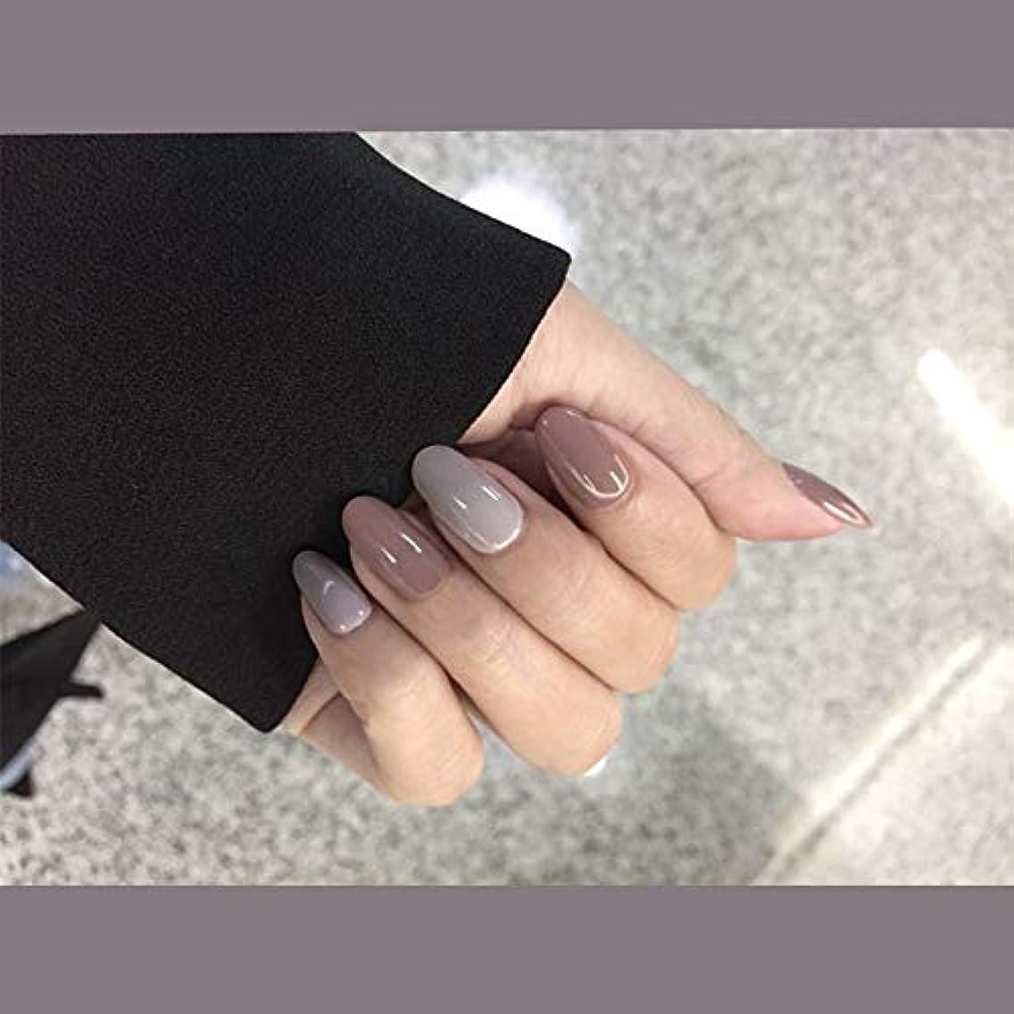 受付密度追加するXUTXZKA ホームオフィスの女性のための24Pcs色の偽の釘の短い先端の灰色の長い偽の釘