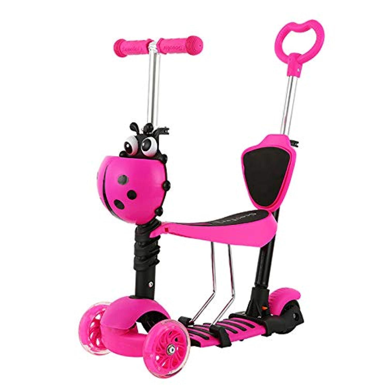 子供スクーター、3つの車輪の調節可能な高さの初心者のキックスクーター取り外し可能&調整可能な座席とLEDライトアップホイール子供のための男の子女の子女の子2-10