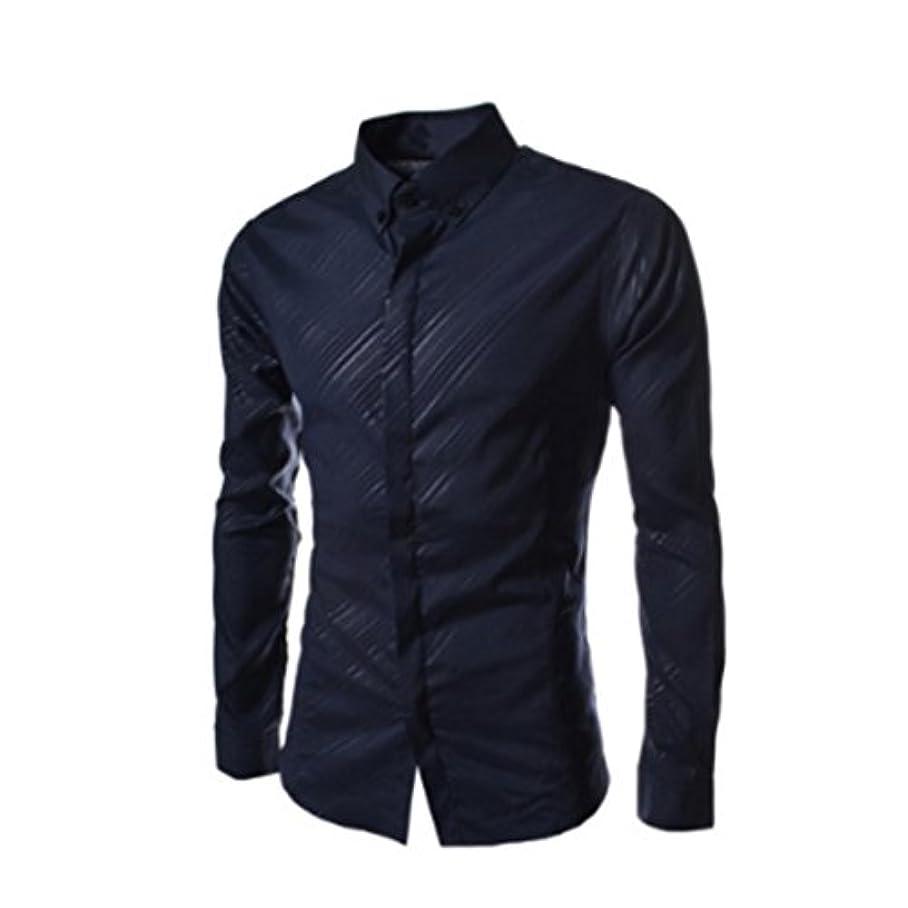 不完全ふさわしい青Honghu メンズ シャツ 長袖  カジュアルネイビー XL 1PC