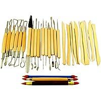 陶芸 粘土細工 模型 フィギア カービング 製作などに 便利なツールセット (30セット)