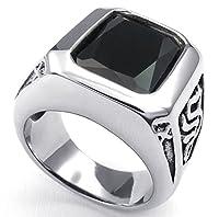 PW 高品質チタンとステンレス 黒ジルコン指輪 23469 シルバー(銀色) 【ラッピング対応】