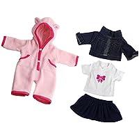 Dovewill ファッション 布製 人形服 寝間着 夜ドレス パジャマ 18インチアメリカガールドール人形用 Tシャツ ジーンズ 全2セット