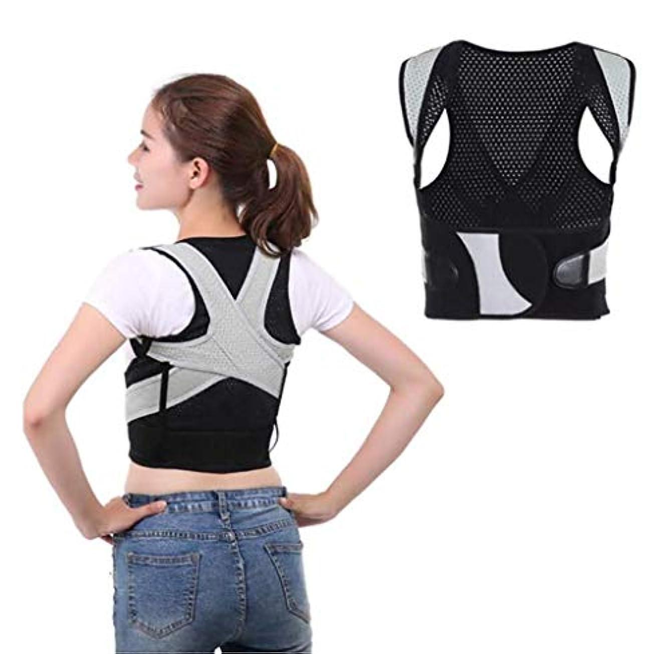 バッフル砲撃それら姿勢矯正ベルト、背部装具、悪い姿勢の改善、気質の改善、調整可能、腰痛緩和のためのダブルストロングスプリント、オフィス学習演習用 (Color : M)