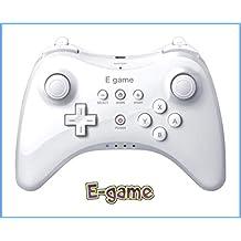 【E-game】 WiiU PRO コントローラー (振動機能付き WiiU専用 ワイヤレスコントローラー)クロス & 日本語説明書 & 1年保証付き「ホワイト」