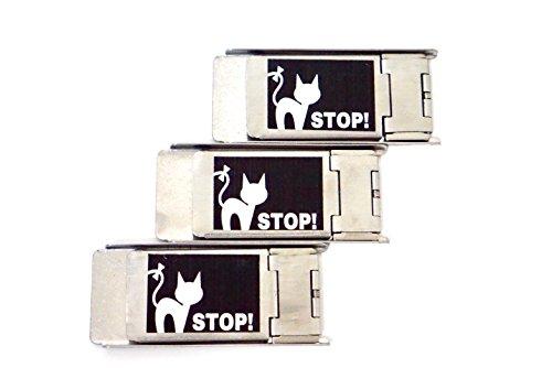 網戸ロック 3個セット にゃんにゃんストッパー 猫 脱走 防止 補助錠 ブラック