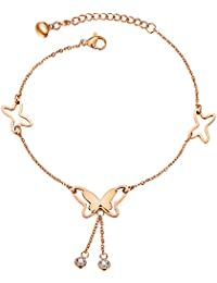 Zhichengbosi Butterfly Tassel Rose Gold Titanium Steel Chain Barefoot Sandals Ankle Bracelet