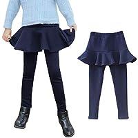 Ehdching Baby Little Girls Winter Pantskirt Kids Fleece Lined Leggings Warm Velvet Pants Ruffle Skirt