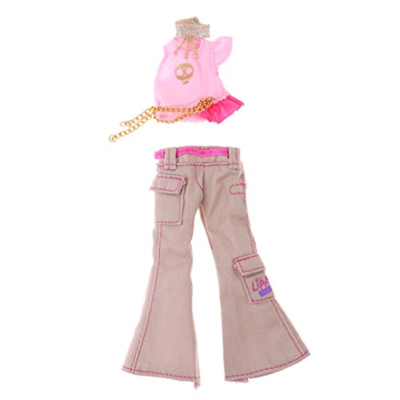 Prettyia ドールアクセサリー バービー人形 モンスターハイドールに適用 洋服 トップス クロップドズボンセット