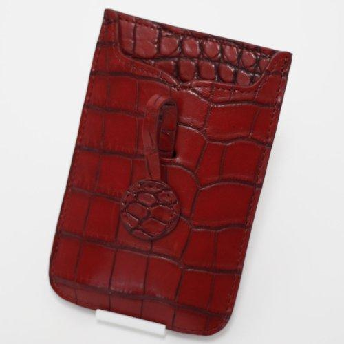 【各種スマホ対応 iPhone5sも】本クロコダイル皮革オリジナルスマートフォンケース (レッド)