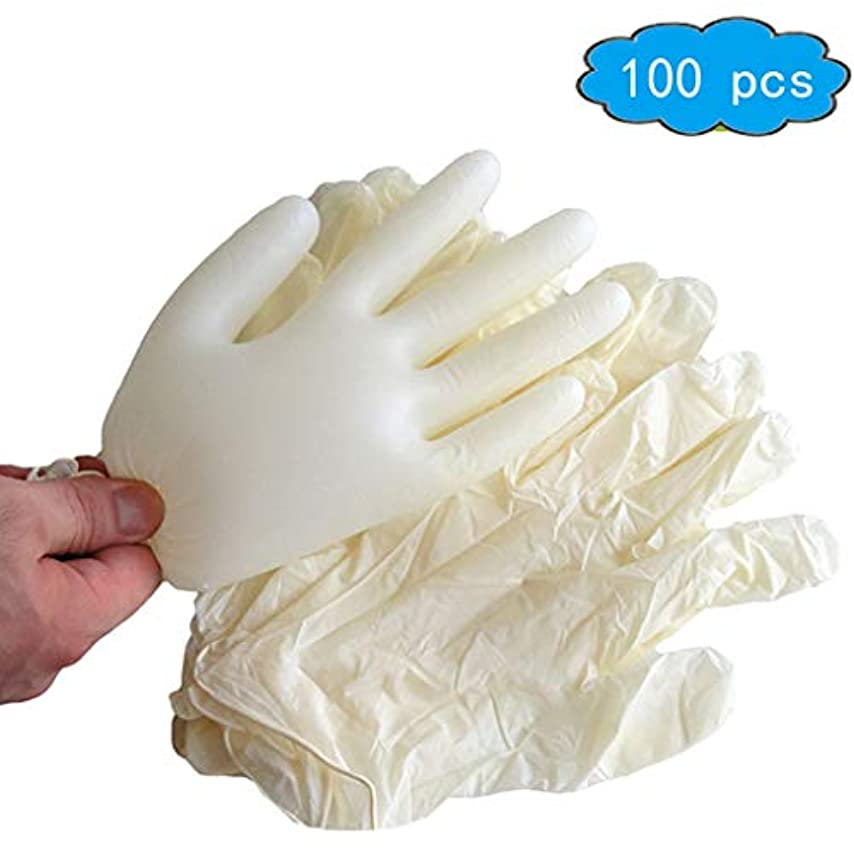 線形ブッシュケイ素使い捨てラテックス手袋、医療用グレード、パウダーフリー、食品安全(100箱) (Color : Beige, Size : S)