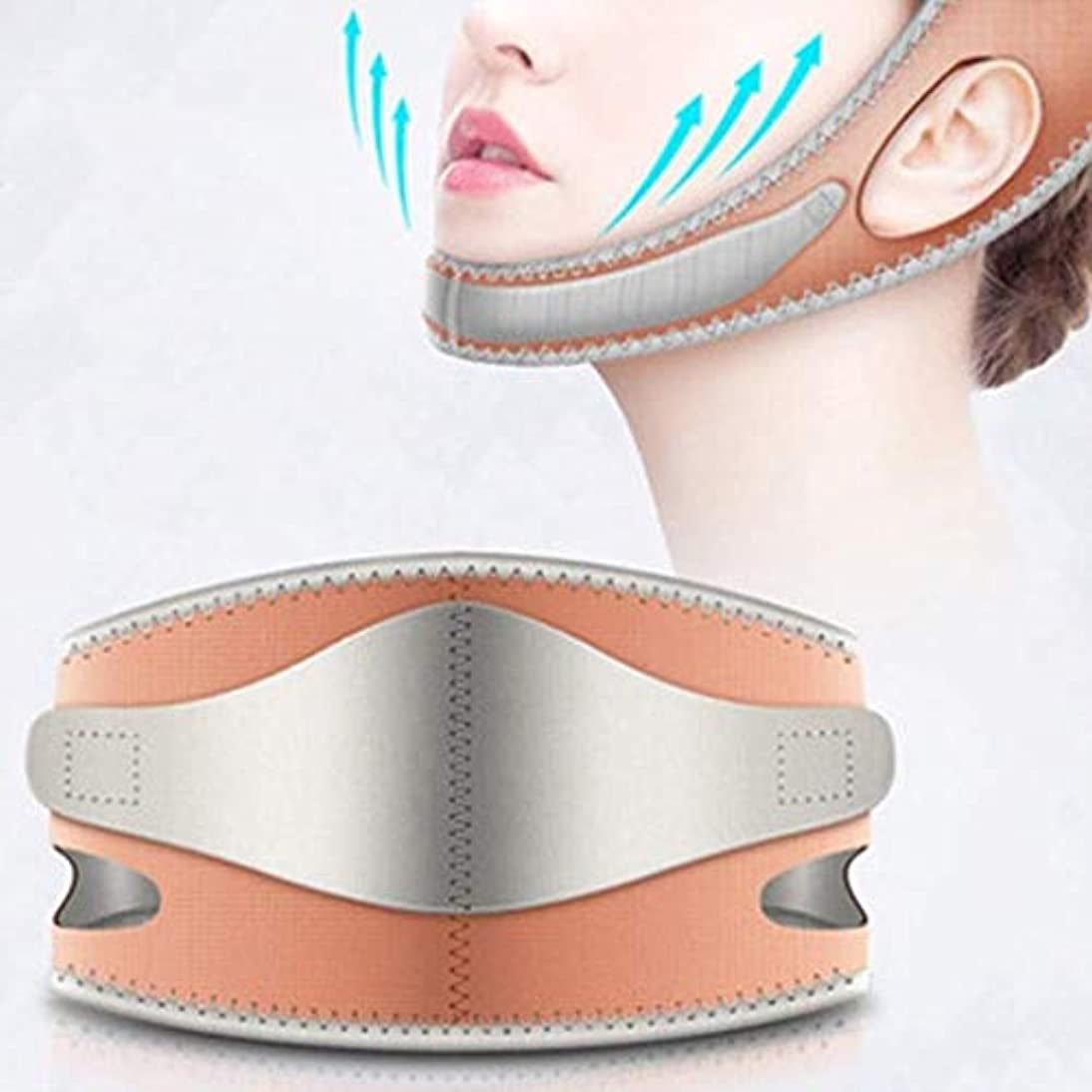 和下手先例フェイスリフティング痩身Vフェイスマスクフルカバレッジ包帯減らす顔の二重あごケア減量美容ベルト通気性