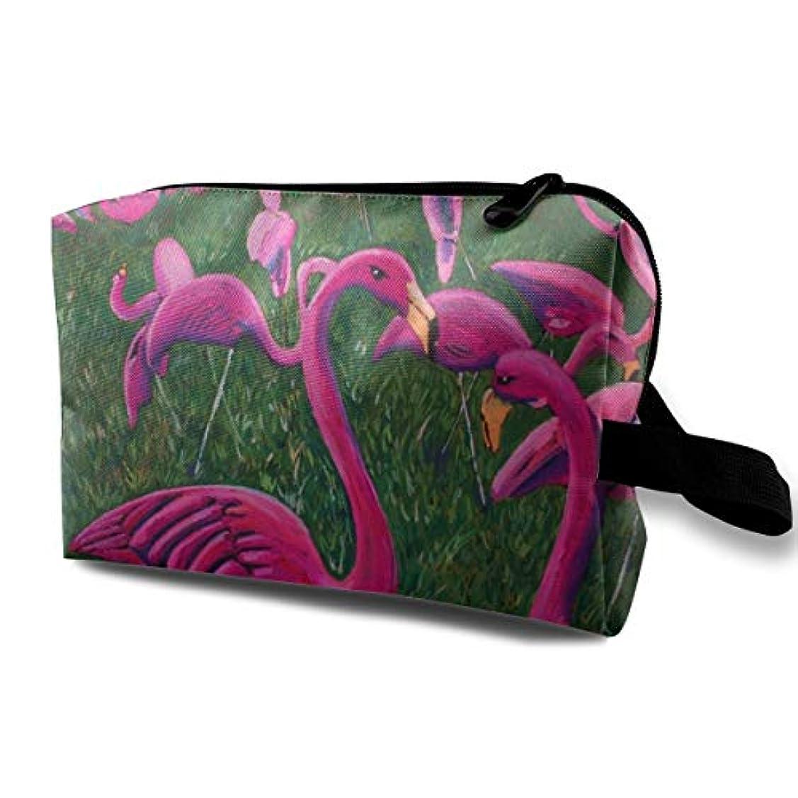 分割追う煩わしいPink Flamingo Painting 収納ポーチ 化粧ポーチ 大容量 軽量 耐久性 ハンドル付持ち運び便利。入れ 自宅?出張?旅行?アウトドア撮影などに対応。メンズ レディース トラベルグッズ