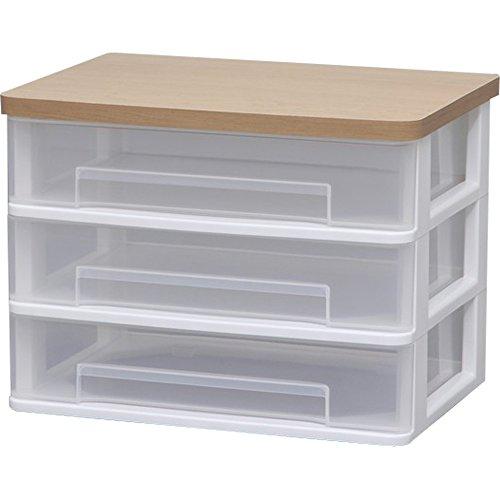 アイリスオーヤマ チェスト テーブルチェスト ワイド 木天板 幅36.6×奥行26.3×高さ26.9cm ホワイト WET-W430